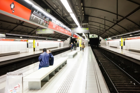 sub station: BARCELONA, SPAIN - APRIL 12: Interior of metro station Glories in April 12, 2012 in Barcelona, Spain. Metro began work December 30, 1924. Total length - 157.5 km. Number of stations - 209 Editorial