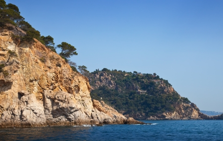 view of curvy shore line with cliffs at Costa Brava coast  photo