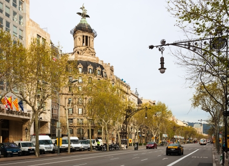 BARCELONA, SPAIN - APRIL 8: Union y el Fenix Espanol building at Passeig de Gracia in April 8, 2013 in Barcelona, Spain. Located in the Eixample district. Shopping and business areas