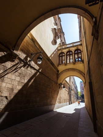 Old picturesque street of Barrio Gotico. Barcelona
