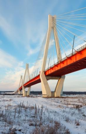 oka: Murom bridge through Oka in winter