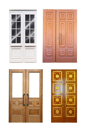 Set of double wooden doors. Isolated over white background photo