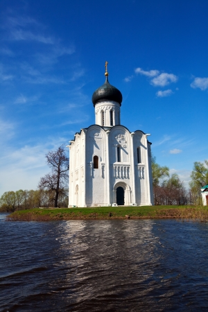 Church of the Intercession on the River Nerl in spring  flood photo