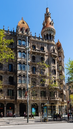 neogothic: BARCELONA, SPAIN - APRIL 14: Cases Pons in April 14, 2013 in Barcelona, Spain. Was built in 1890–1891 by Catalan architect Enric Sagnier, neo-Gothic style Editorial
