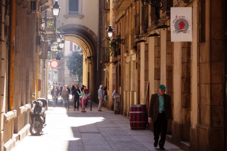 BARCELONA, CATALONIA  - APRIL 14: streets of Barrio Gotico in April 14, 2013 in Barcelona, Catalonia. It is centre of old city, one of symbol of city
