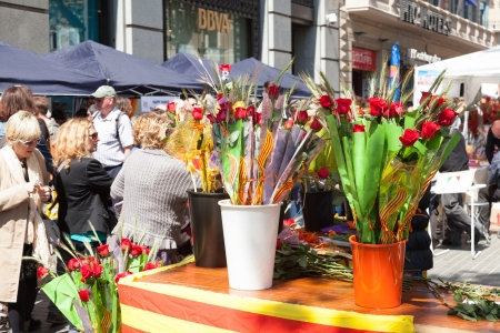 BARCELONA, CATALONIA - APRIL 23: Bouquets of  and rye in Sant Jordi in April 23, 2013 in Barcelona, Catalonia. Saint George is the patron saint of city