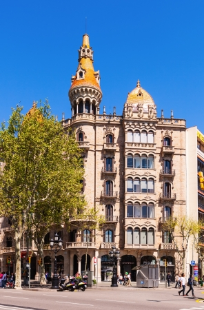 neogothic: BARCELONA, SPAIN - APRIL 14: Cases Pons in April 14, 2013 in Barcelona, Spain. Was built in 1890–1891 by Catalan architect Enric Sagnier, neo-Gothic style, with decoration by Alexandre de Riquer. Editorial