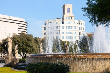 View of Barcelona,  fountain in  Catalonia Square