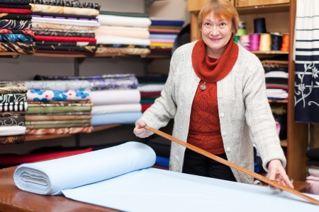 salesclerk works in the fabric store  Stock Photo - 19401601
