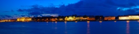 View of St. Petersburg. Vasilyevsky Island in night photo