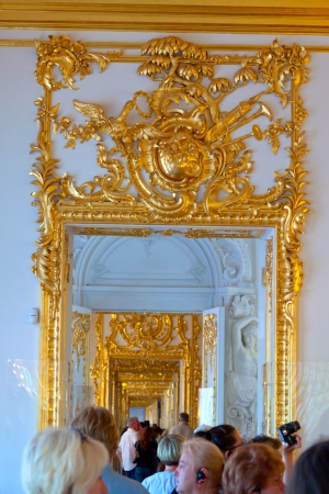 imrepator: ST.PETERSBURG, RUSSIA - AUGUST 2: Enfilade of Catherine Palace in August 2, 2012 in St.Petersburg, Russia. The former imperial palace.  Building is laid in 1717 on orders of Catherine I. Now a museum