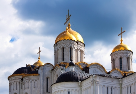 assumption:  Domes of Assumption cathedral  at Vladimir in summer. Russia