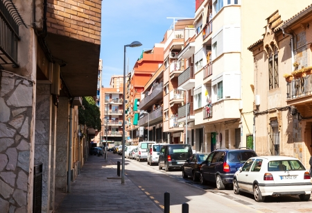 3rd century: BADALONA, SPAIN - MARCH 7: Rafael de Casanova street in March 7, 2013 in Badalona, Spain. City was founded by the Romans in the 3rd century BC.  Population: 220,977 (2012 Census)