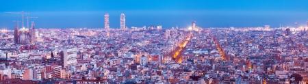 바르셀로나의 밤 파노라마. 스페인