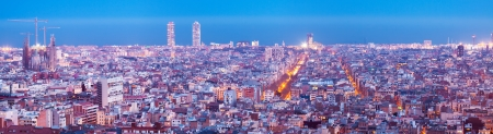 sagrada: night panorama of Barcelona. Spain