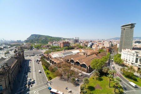 Wide angle shot of  Barcelona from Columbus statue. Spain Stock Photo - 19528184