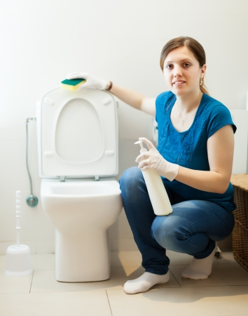 woman in bathroom with sponge and cleaner at  home Stock Photo - 19528335