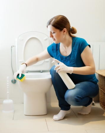 water closet: Woman cleaning toilet with sponge and cleaner at  home Stock Photo