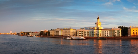 View of St. Petersburg. Universitetskaya Embankment in summer photo