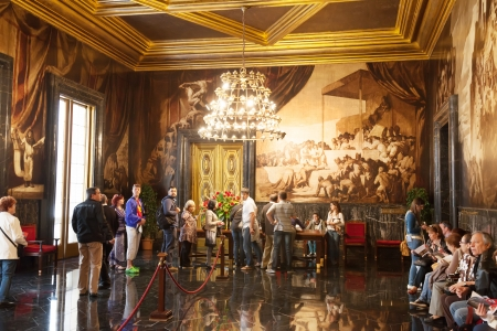 generalitat: BARCELONA, SPAIN - APRIL 23: Hall of Chronicles in city hall in April 23, 2013 in Barcelona, Spain.  The walls and ceiling of the hall are covered with frescoes