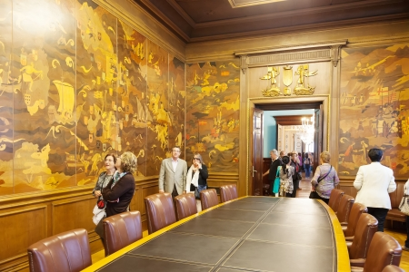 marquetry: BARCELONA, SPAIN - APRIL 23: Hall Expansion Ciudadana of city hall of Barcelona in April 23, 2013 in Barcelona, Spain. The walls  the hall are covered with wooden marquetry