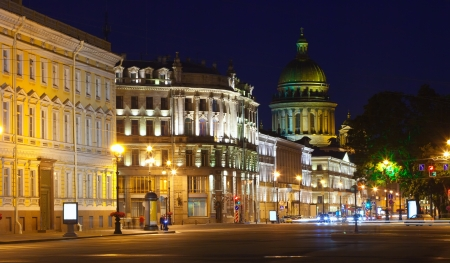 View of St. Petersburg.  Saint Isaacs Cathedral  from Palace Square in night photo