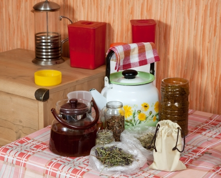 heterogeneous: herbs at home kitchen ready for brews