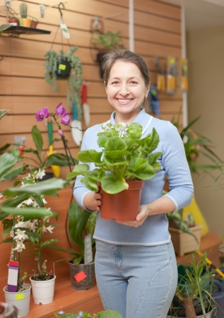 store keeper:  Happy mature woman in floral store   Stock Photo