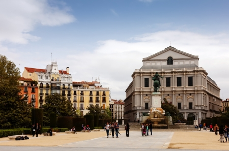 MADRID, SPAIN - APRIL 25: Plaza de Oriente in April 25, 2013 in Madrid, Spain. Square includes an  statue of Felipe IV, established in 17 november 1843