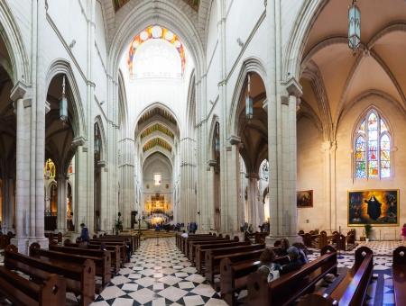MADRID, SPAIN - APRIL 25: Panorama of interior of Almudena Cathedral in April 25, 2013 in Madrid, Spain. Santa Maria la Real de La Almudena - main church of Spain