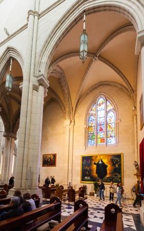 MADRID, SPAIN - APRIL 25: Inside of Almudena Cathedral in April 25, 2013 in Madrid, Spain. Santa Maria la Real de La Almudena is  cathedral - main church of Spain