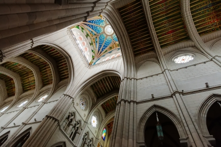 Ceiling in interior of Almudena Cathedral in Madrid, Spain Stock Photo - 20449361