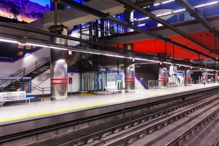 MADRID, SPAIN - APRIL 26:  Madrid Metro in April 26, 2013 in Madrid, Spain.  Interior of metro station Aeropuerto