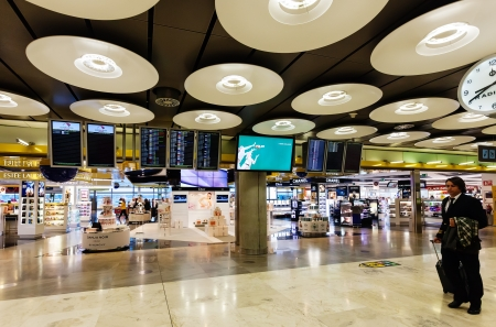 MADRID, SPAIN - APRIL 26: Interior with Duty free in Barajas Airport in April 26, 2013 in Madrid, Spain. In 2012 the airport handled 45,195,014 passengers