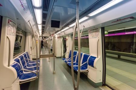 Interior of  subway train in spanish metro photo