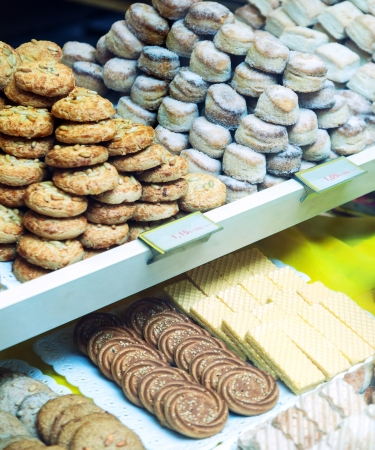 Different cakes at store window Stock Photo - 19855449