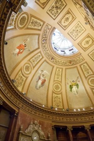 generalitat: BARCELONA, CATALONIA - APRIL 23:  Ceiling in interior of Ajuntament de Barcelona in April 23, 2013 in Barcelona, Catalonia.  Hall of the Queen Regent with painting of Queen Maria Cristina and Alfonso XIII