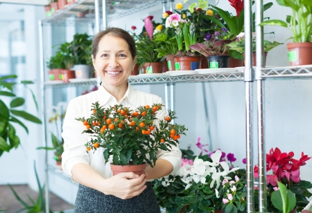 Happy mature woman chooses Calamondin at flower store photo