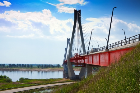 oka: Murom bridge through Oka River, cable-stayed bridge length of about 1400 meters. Russia