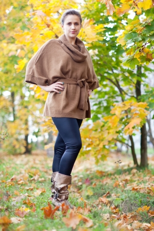 jupe: Full length shot of girl in autumn park  Stock Photo