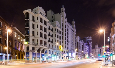 gran via: MADRID, SPAIN - APRIL 26: Night view of Gran Via in April 26, 2013 in Madrid, Spain. Gran Via one of broadest and most important avenues at city