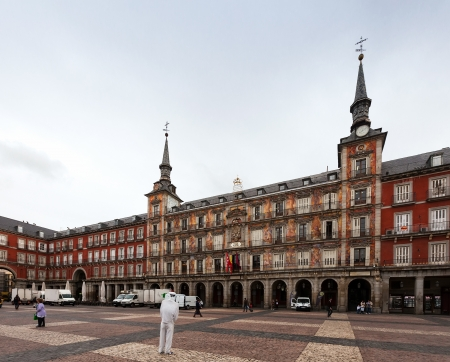 MADRID, SPAIN - APRIL 26: Exerior of houses at Plaza Mayor in April 26, 2013 in Madrid, Spain. One of the central square of the capital, built during the Habsburg