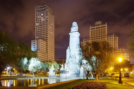 Night kind of Madrid. Spain Square includes Cervantes Monument