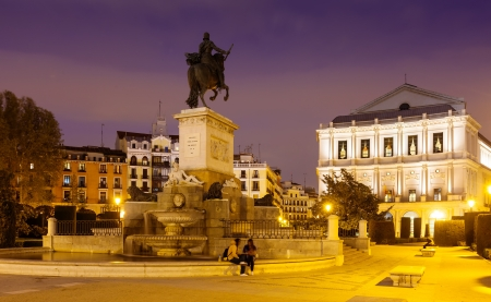 Night view of Plaza de Oriente in Madrid, Spain photo