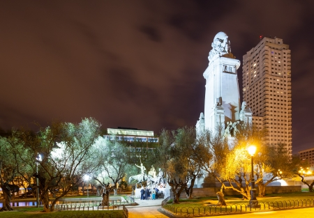 Cervantes Monument in Spain Square  in night photo
