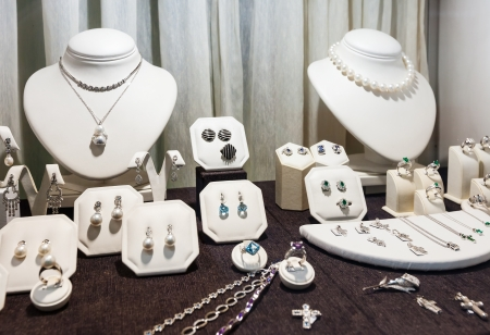 jewellery: variety jewelry at showcase of store