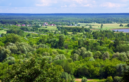 klyazma: Summer landscape with  outskirts of Vladimir. Russia