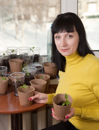 Female gardener with various seedlings at home photo