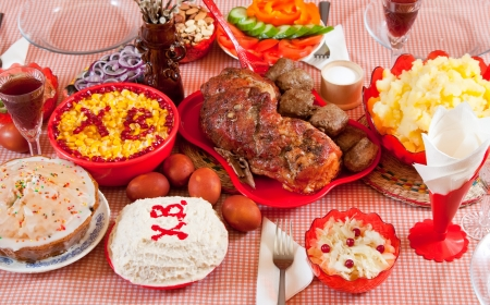 paskha: Easter table with celebrate cake  and other meal
