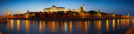 moskva river: Panorama of Moscow Kremlin in summer night. Russia Stock Photo